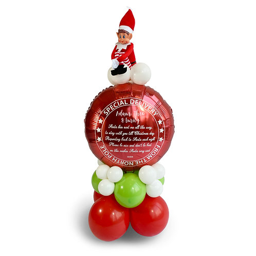 Personalised Elf Arrival Special Delivery Balloon, Elf on Top