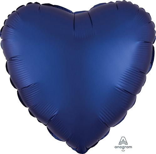 18 Inch Navy Heart Foil Balloon, Satin Luxe