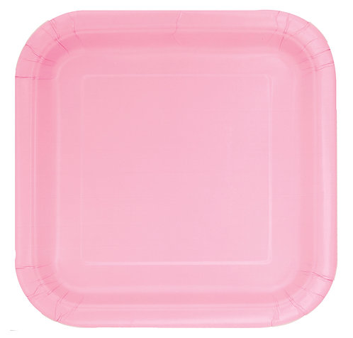 Baby Pink Square Paper Plates 14pk (23cm)