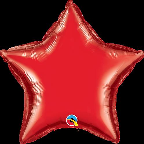 18 Inch Ruby Red  Plain Star Foil Balloon