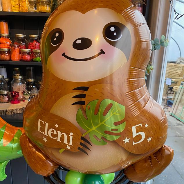 Sloth supershape foil balloon, helium-fi