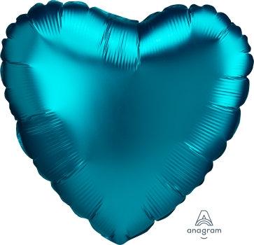 18 Inch Aqua Heart Foil Balloon, Satin Luxe