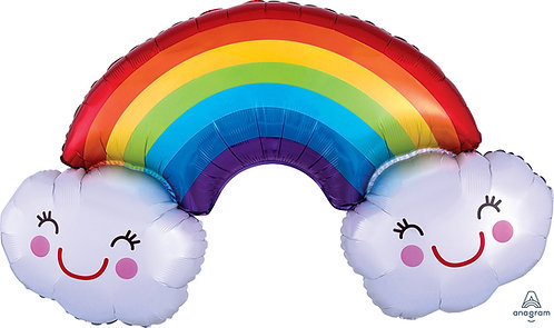 37 Inch Rainbow and Clouds Supershape Foil Balloon
