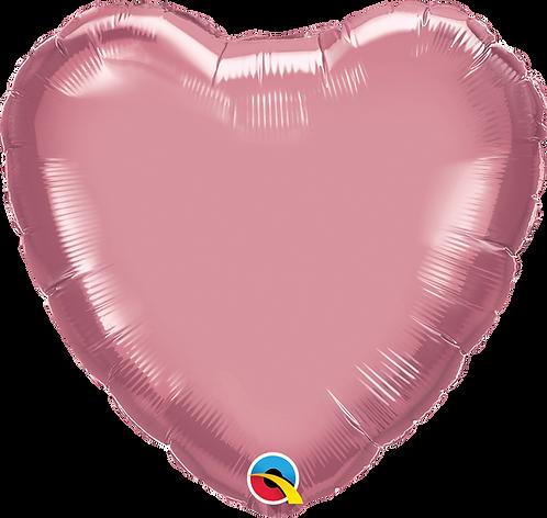 18 Inch Chrome Mauve Heart Foil Balloon
