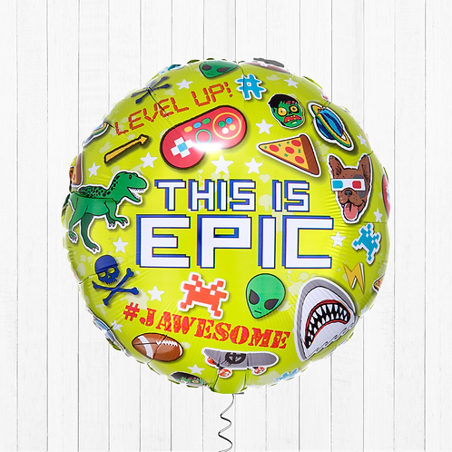 18 Inch Helium-Filled 'This is Epic' Round Foil Gaming Balloon