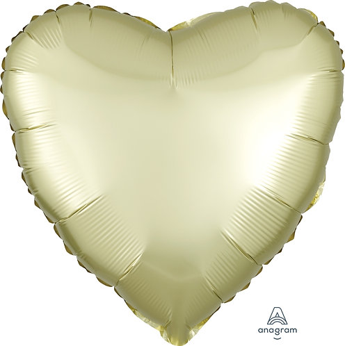 18 Inch Pastel Yellow Heart Foil Balloon, Satin Luxe