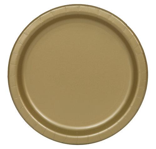 Gold Round Paper Plates 16pk (23cm)