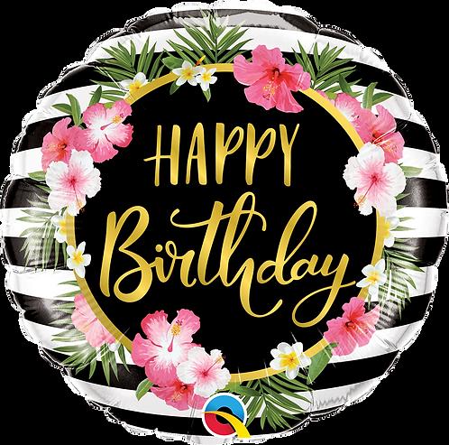 18 Inch Birthday Hibiscus Stripes Tropical Foil Balloon
