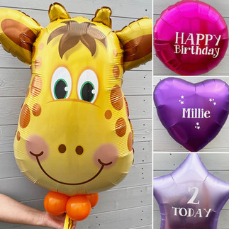 Giraffe Supershape, helium filled together with personalised plain foils