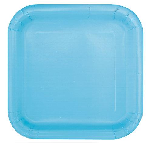Baby Blue Square Paper Plates 14pk (23cm)