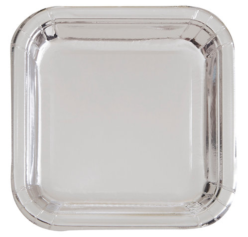 Silver Metallic Shiny Square Paper Plates 8pk (23cm)