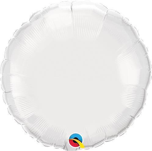 18 Inch White Round Foil Balloon