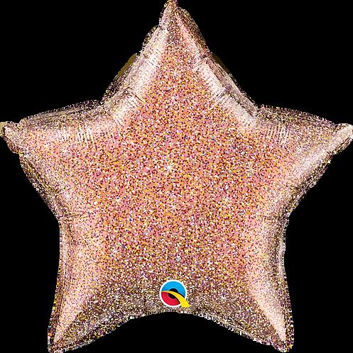 18 Inch Rose Gold Glittergraphic Star Foil Balloon