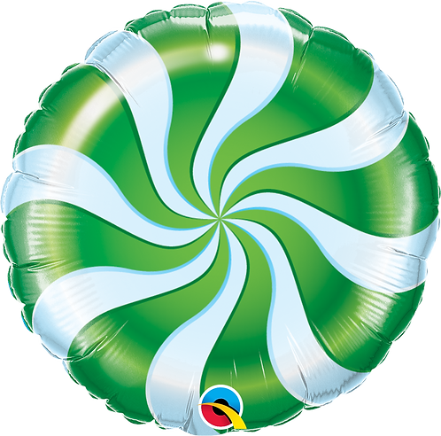 18 Inch Foil Balloon Green Candy Swirl Sweets