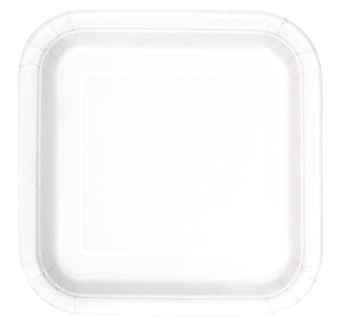 White Square Paper Plates 14pk (23cm)