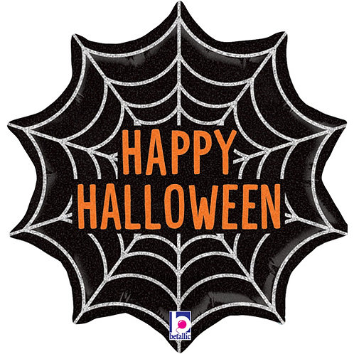 18 Inch Foil Balloon - Happy Halloween Spiders Web Shaped