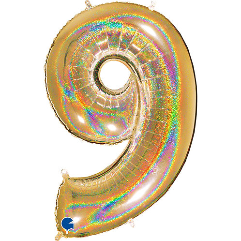 40 Inch Gold Holographic Foil Number Balloon