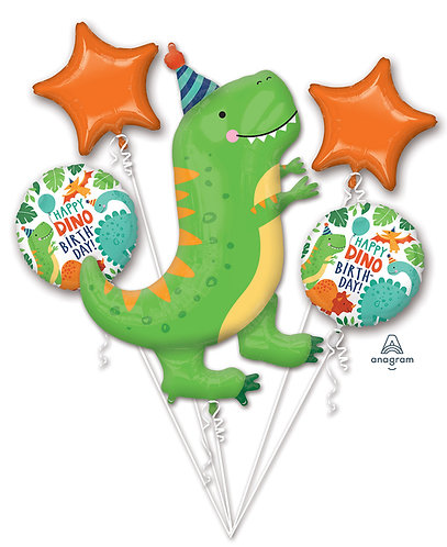 Happy Dino Birthday Dinosaur Balloon Bouquet Inflated