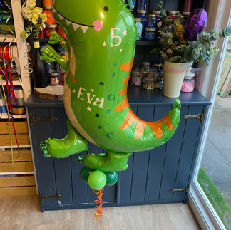 5th Birthday - Dinosaur Supershape Balloon, personalised with a name and age