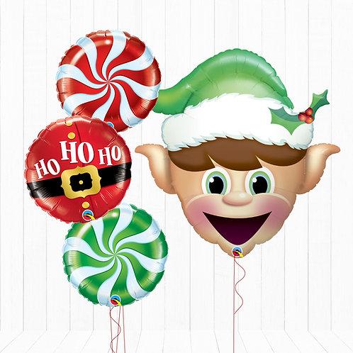 Santa's Little Helper Elf - Helium Inflated Foil Balloon Bouquet