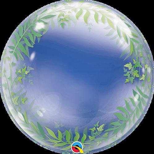 24 Inch Elegant Greenery Clear Bubble Balloon
