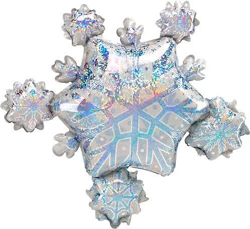 Supershape Holographic Snowflake Foil Balloon