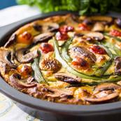 Asparagus, champignons, cherry tomatoesTofu frittata