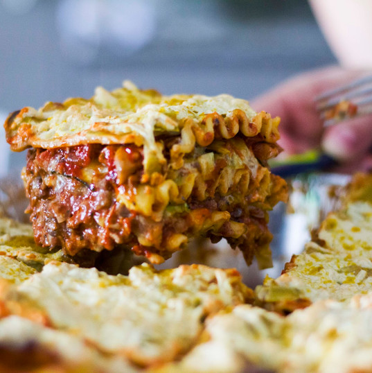 Eggplant, mushroom and zucchini Lasagna with cheesy bolognese and herbs