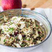 Quinoa apple salad with almonds, cranberries andlight lemon vinaigrette