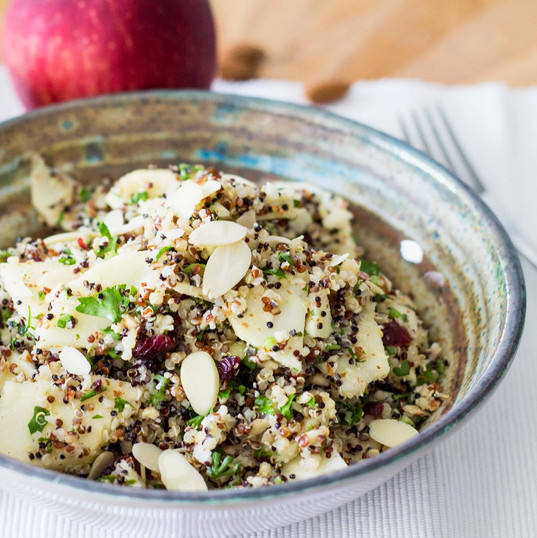 Quinoa apple  salad with almonds, cranberries and light lemon vinaigrette