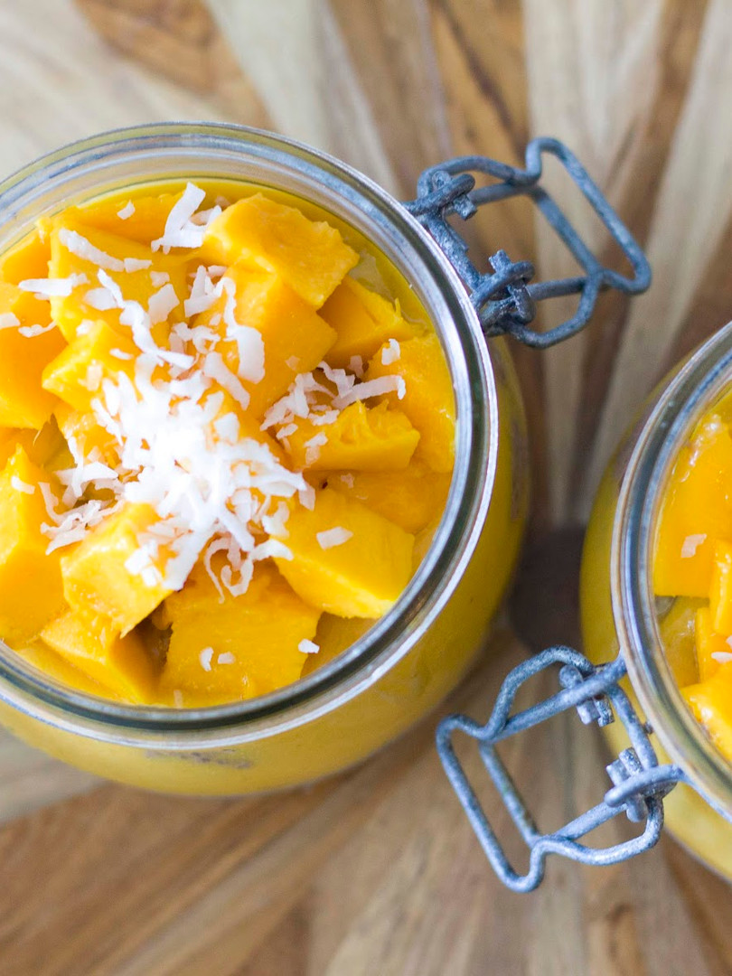 Tropical coconut milk chia pudding with mango puree