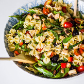Mediterranean Pasta salad with light balsamic dressing