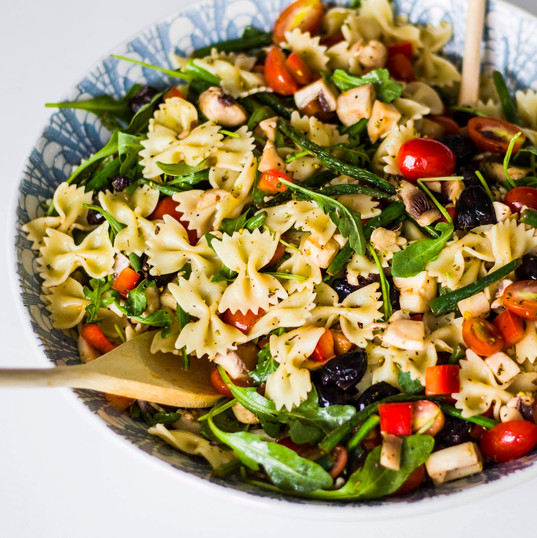 Mediterranean Pasta salad with light balsamic dressing