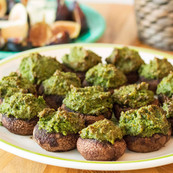 Stuffed mushrooms with kale pesto