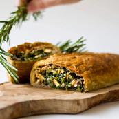 Three mushroom pie with spinach and walnuts