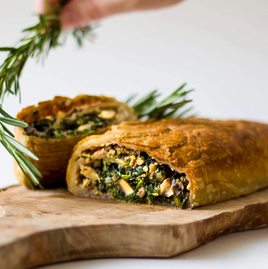 Three mushroom pie with spinach and walnuts