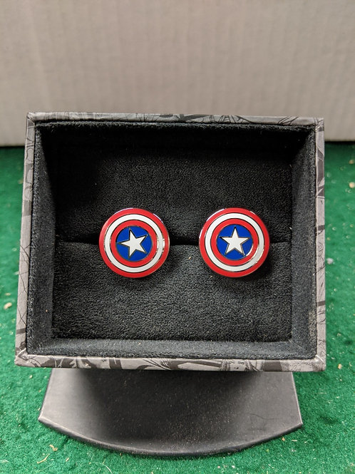Captain America's Shield Enamel Cuff Links