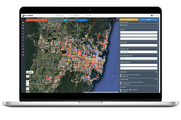 Wide Market Map of Office, Industrial, Retail, and Land Properties For Lease and For Sale