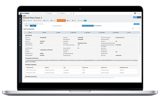 A Sales Comparable Page of an Office Building in the Arealytics Pro Platform