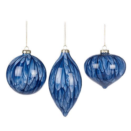 Set van 3, Glas delftsblauw marmerstrepen