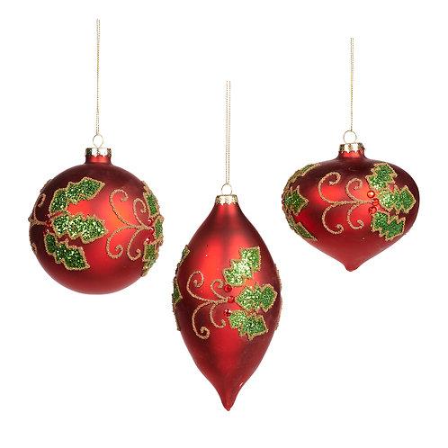 Set van 3, rode ornamenten met hulstmotief