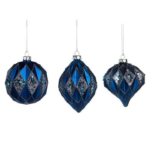 Set van 3, blauw geometrisch
