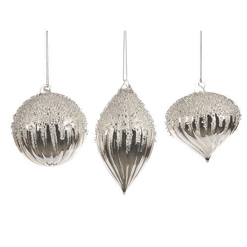 Set van 3, zilver met versiering bovenaan