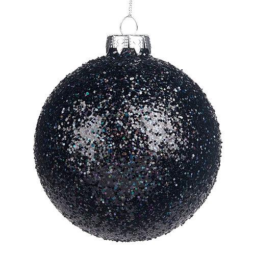 Glazen glitter bal zwart