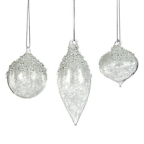 Set van 3, glas met versierde top en tinsel