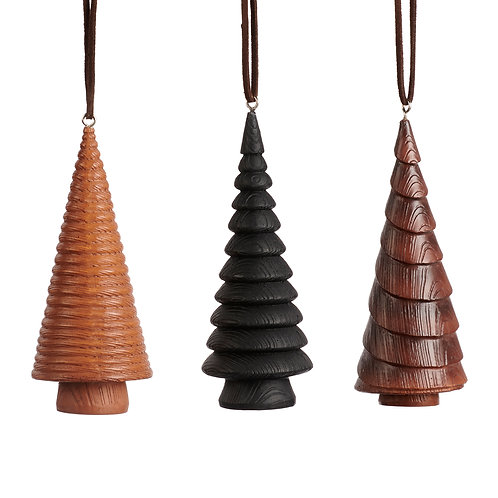 Set van 3, houtlook boompjes