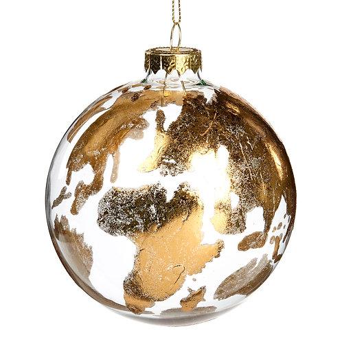 Glazen gouden wereldbol