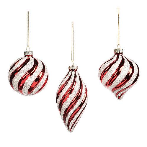 Set van 3, ornamenten candy cane