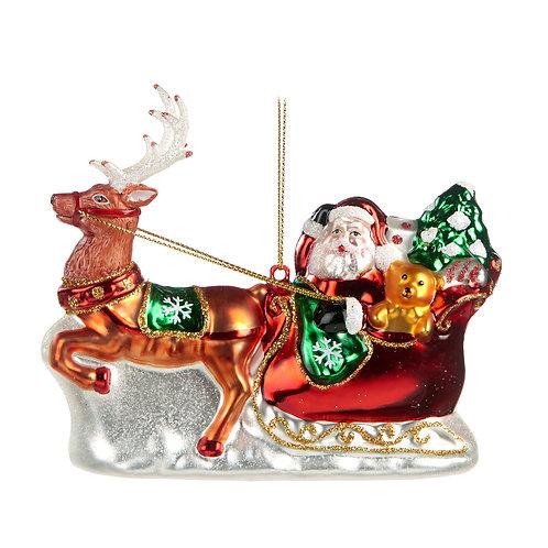 Handgeschilderd figuur, Kerstman in slee