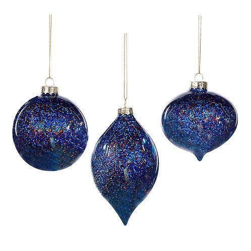 Set van 3, ornament met glitterlak